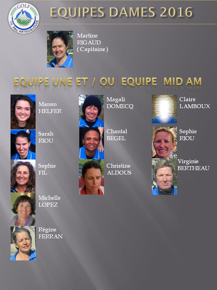 EQUIPE DAMES 2016