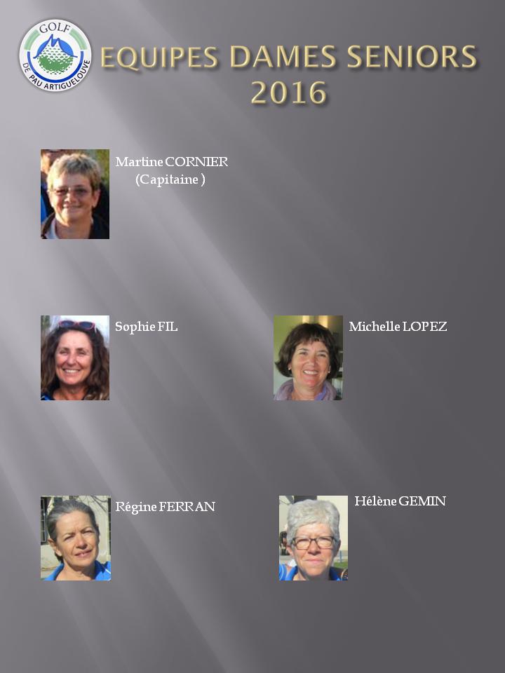 EQUIPES dames séniors 2016
